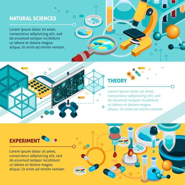 Set di banner di scienza Vettore gratuito