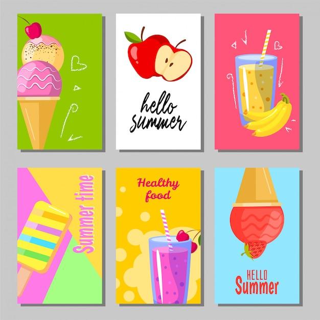 Set di banner di sfondi estate dolce carino. auguri di design di layout estivi. gelato, frutta e frullato Vettore Premium