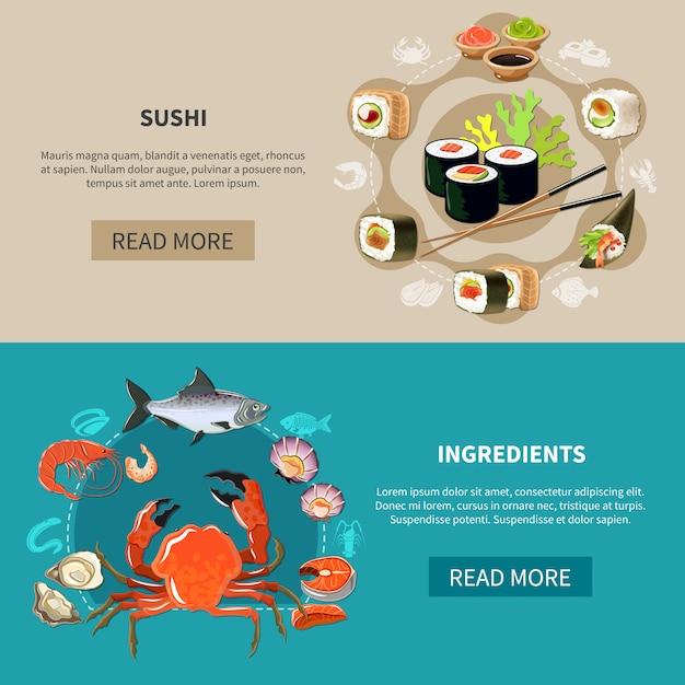 Set di banner di sushi Vettore gratuito