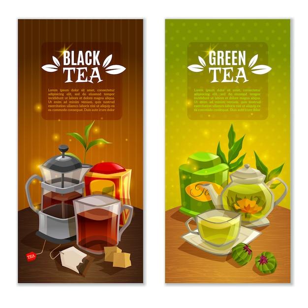 Set di banner di tè Vettore gratuito