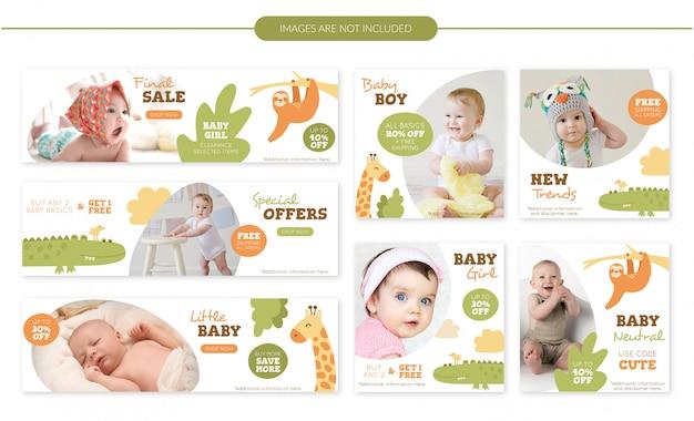 Set di banner di vendita bambino carino animali Vettore Premium