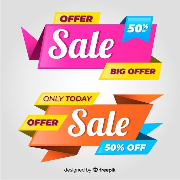Set di banner di vendita colorato. grande sconto vendita offerta Vettore gratuito