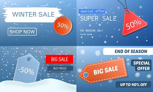 Set di banner di vendita finale invernale. l'illustrazione realistica dell'insegna di vettore di vendita finale dell'inverno ha messo per web design Vettore Premium