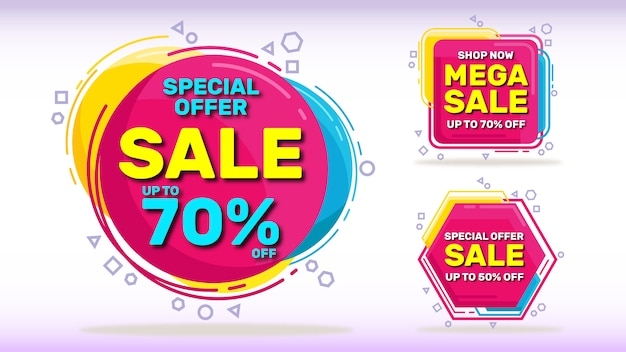 Set di banner di vendita Vettore Premium