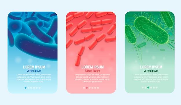 Set di banner di vettore realistico verticale probiotici Vettore Premium
