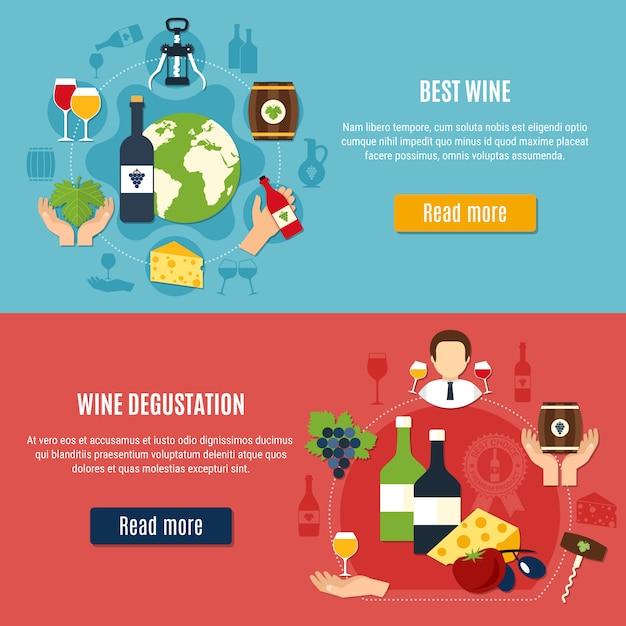 Set di banner di vino Vettore gratuito