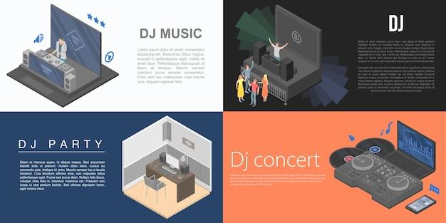Set di banner dj, stile isometrico Vettore Premium