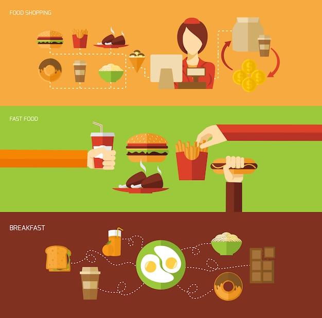 Set di banner fast food Vettore gratuito