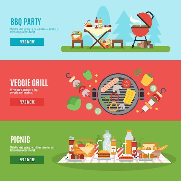 Set di banner festa barbecue Vettore gratuito