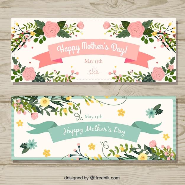 Set di banner festa della mamma con fiori Vettore gratuito