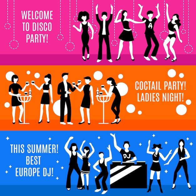 Set di banner festa in discoteca Vettore gratuito
