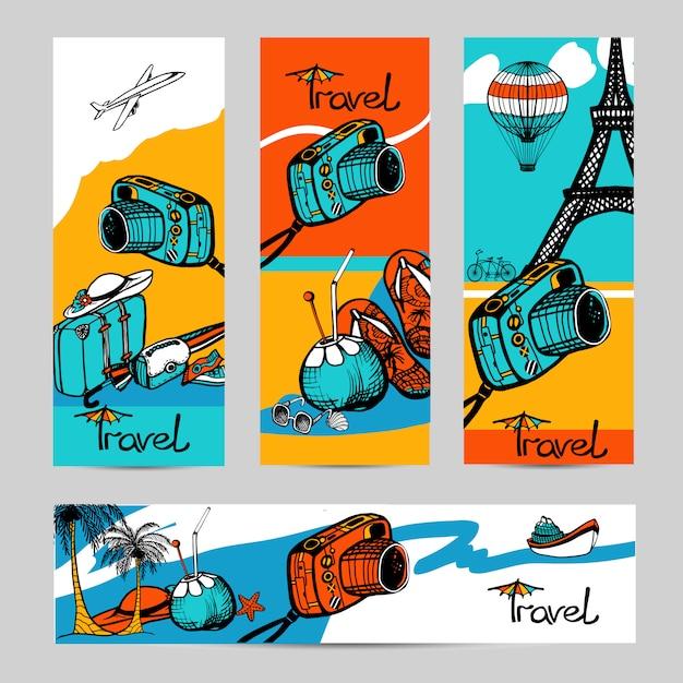Set di banner foto di viaggio Vettore gratuito