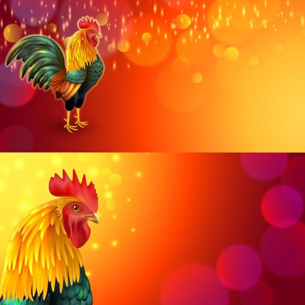 Set di banner gallo Vettore gratuito