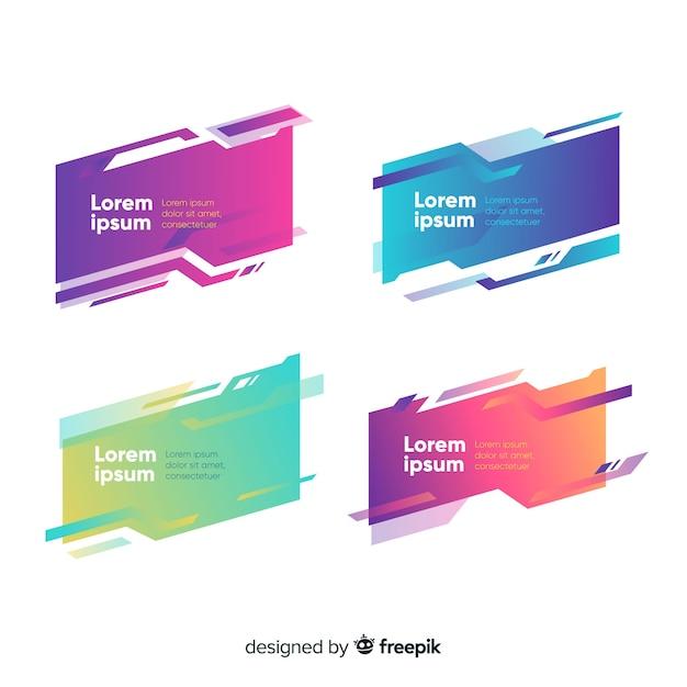 Set di banner geometrica astratta Vettore gratuito