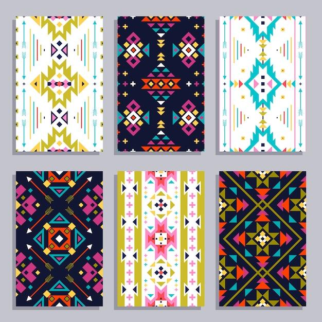 Set di banner geometrici etnici Vettore gratuito