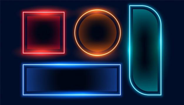 Set di banner geometrici neon cornice vuota impostata Vettore gratuito