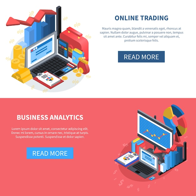 Set di banner icone isometriche finanziarie Vettore gratuito