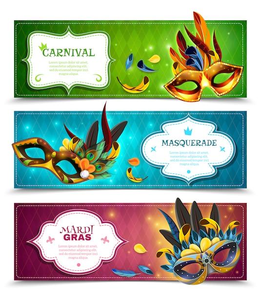 Set di banner in maschera Vettore gratuito