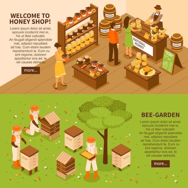 Set di banner isometrica di miele cantiere Vettore gratuito