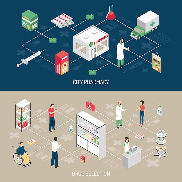 Set di banner isometriche orizzontali di farmacia 2 Vettore gratuito