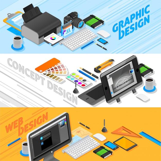 Set di banner isometrici di graphic design Vettore gratuito