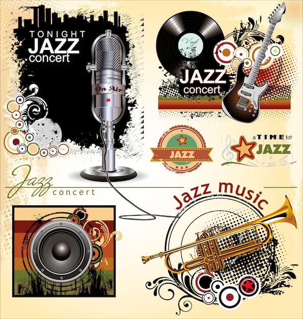 Set di banner jazz Vettore Premium