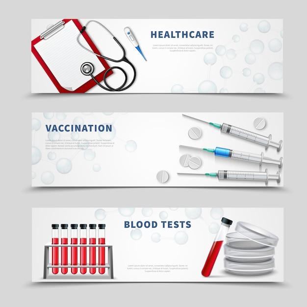 Set di banner medica di vaccinazione Vettore gratuito