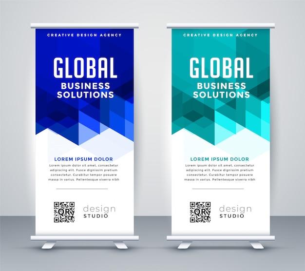 Set di banner moderno blu elegante rollup Vettore gratuito