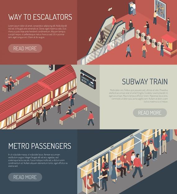 Set di banner orizzontale isometrica ferroviaria della metropolitana Vettore gratuito