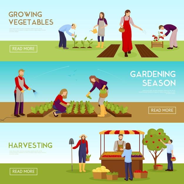 Set di banner orizzontale stagione giardinaggio Vettore gratuito