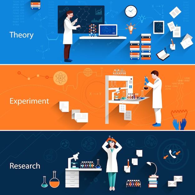 Set di banner orizzontali di scienza Vettore gratuito