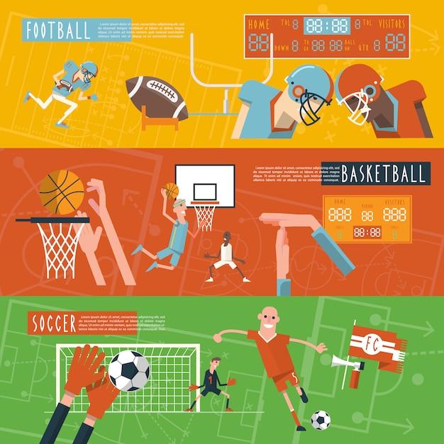 Set di banner orizzontali di sport di squadra Vettore gratuito