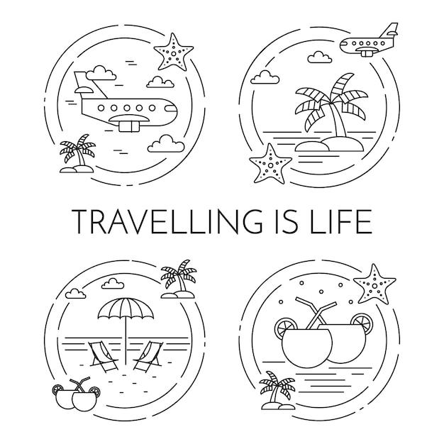 Set di banner orizzontali in viaggio con palme sull'isola, aeroplano, cocktail, spiaggia nei circoli. Vettore Premium