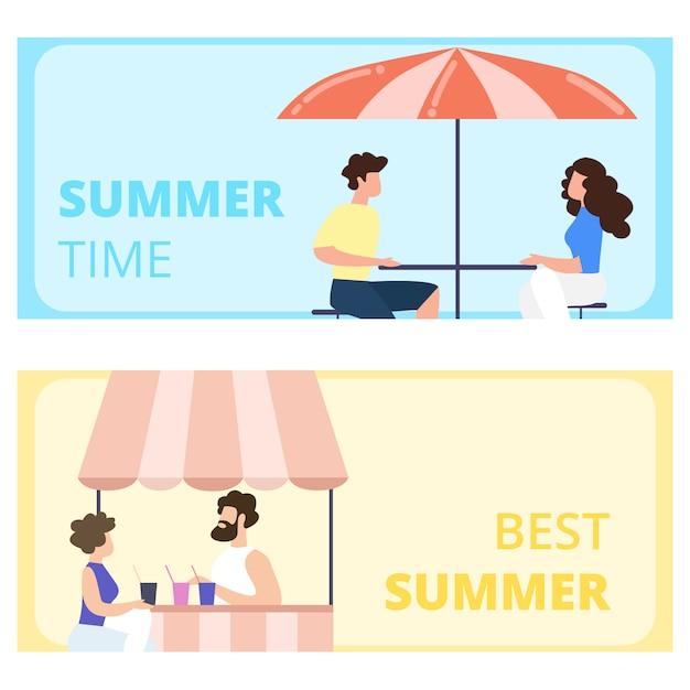 Set di banner orizzontali per il migliore periodo estivo. visitatori seduti nel caffè all'aperto. uomo e donna che si incontrano sulla terrazza del ristorante Vettore Premium