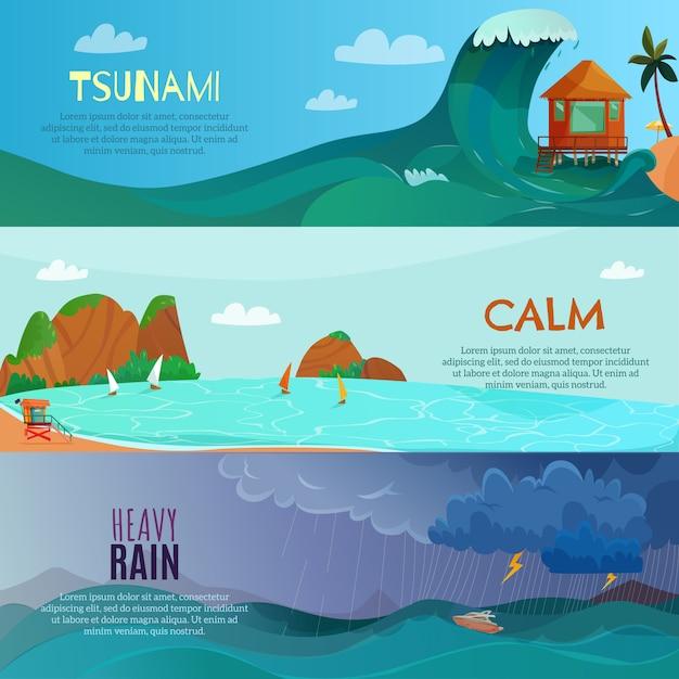 Set di banner paesaggi mare Vettore gratuito