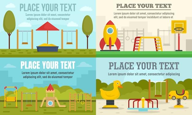 Set di banner parco giochi per bambini Vettore Premium