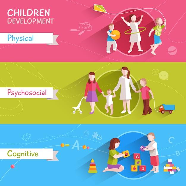 Set di banner per bambini Vettore gratuito