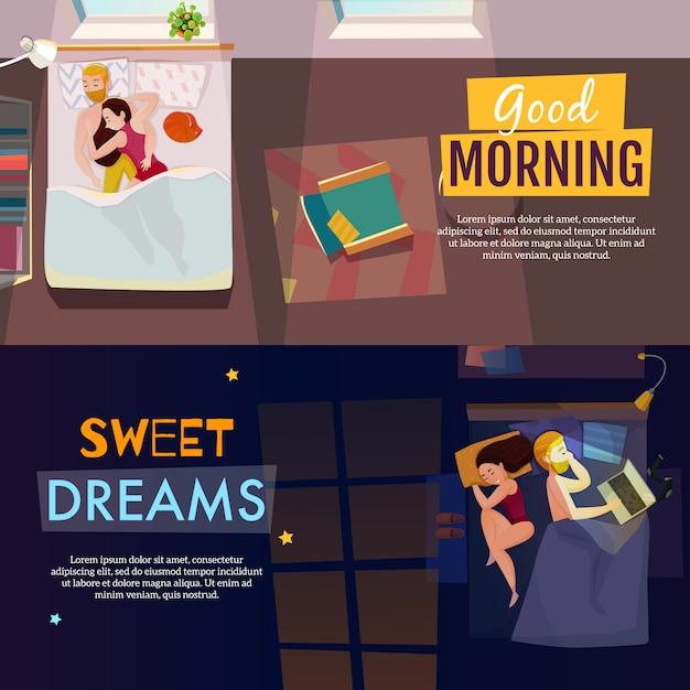 Set di banner per dormire Vettore gratuito