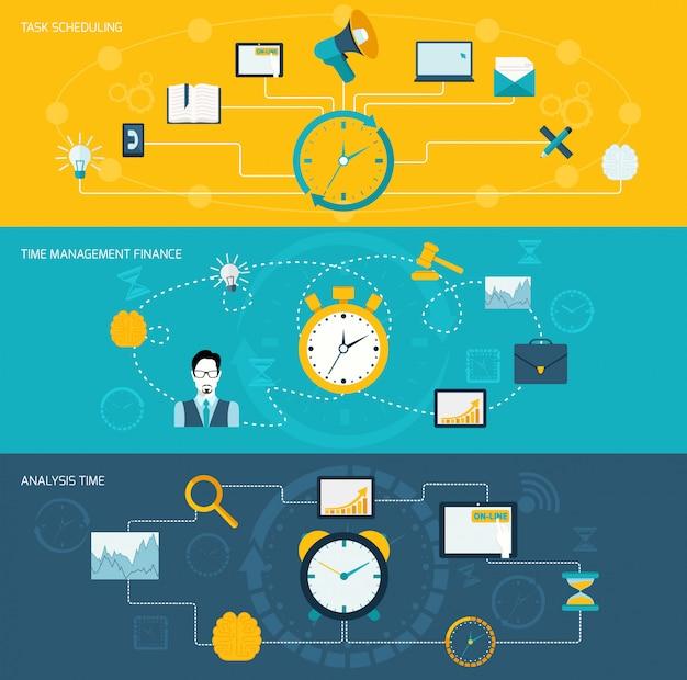 Set di banner per la gestione del tempo Vettore gratuito