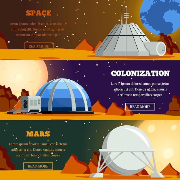 Set di banner piatti con la colonizzazione del pianeta Vettore gratuito