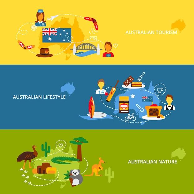 Set di banner piatto australia Vettore gratuito