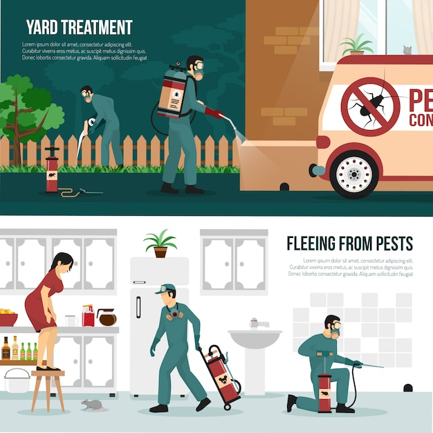 Set di banner piatto di tecnologia di controllo dei parassiti Vettore gratuito
