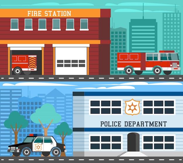 Set di banner piatto di veicoli di emergenza dipartimenti Vettore gratuito