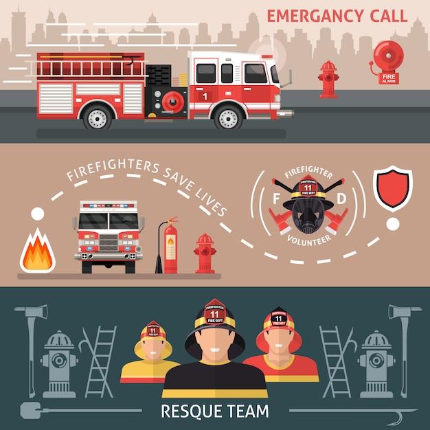 Set di banner pompiere Vettore gratuito