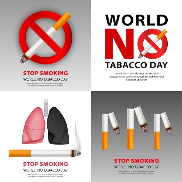 Set di banner pubblico non fumatori Vettore Premium
