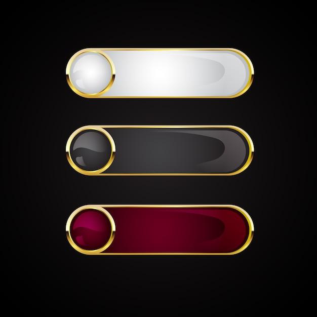 Set di banner pulsanti dorati Vettore Premium