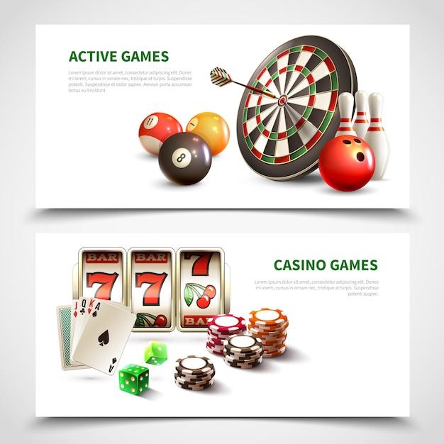 Set di banner realistici di giochi Vettore gratuito