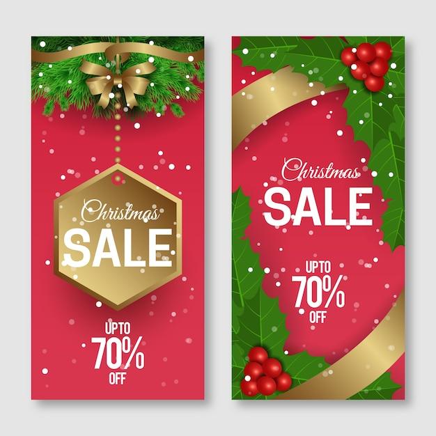 Set di banner realistici di vendita di natale Vettore gratuito
