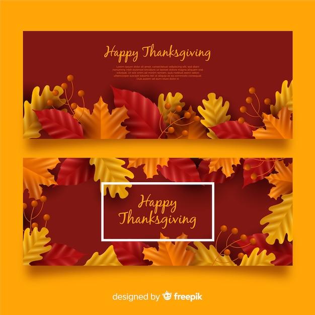 Set di banner realistici giorno del ringraziamento Vettore gratuito