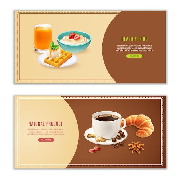 Set di banner realistici per la colazione Vettore gratuito